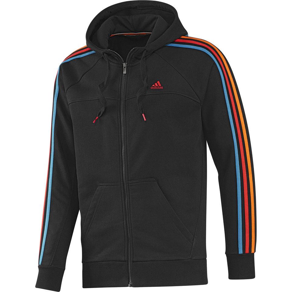 adidas Men's Essential 3 Stripe Full Zip Hoody - Black/Solar Blue
