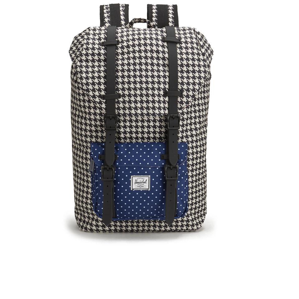 37c1a7ec8be Herschel Supply Co. Little America Mid Volume Backpack - Houndstooth Navy  Polka Dot Black Rubber - Free UK Delivery over £50