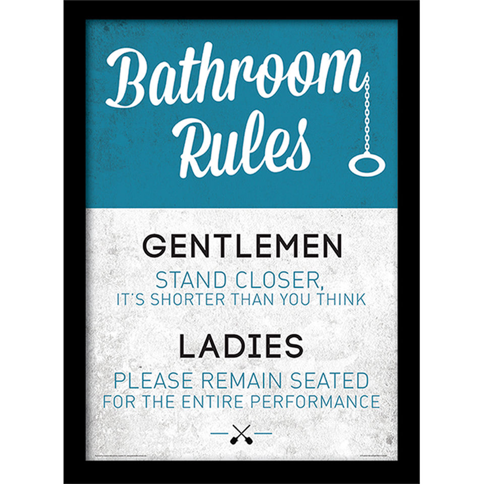 Bathroom Rules Framed 30x40cm Print Homeware TheHut com. Non Slip Bathroom Flooring Elderly