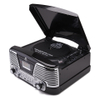 GPO Retro Memphis Turntable 4-in-1 Music System with Built in CD and FM Radio - Black: Image 1