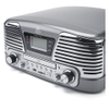 GPO Retro Memphis Turntable 4-in-1 Music System with Built in CD and FM Radio - Silver: Image 4
