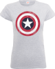 Marvel Avengers Assemble Captain America Distressed Shield Women's T-Shirt - Grey: Image 1