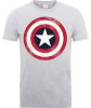 Marvel Avengers Assemble Captain America Distressed Shield T-Shirt - Grey: Image 1