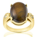 Gold Plated Genuine Oval Tiger Eye Ring