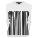 Alexander Wang Women's Cropped Logo B Arcode Tank Top - Silica and Onyx