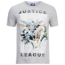 DC Comics Men's Justice League Flying T-Shirt - Grey Marl
