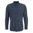 Brave Soul Men's Charlie Pocket Long Sleeve Shirt - Navy