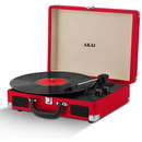 Akai Rechargeable Portable Briefcase Turntable with Built-In Speaker - Red
