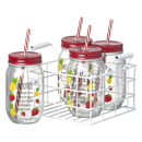 Parlane Smoothie Jars with Straws - Clear/Red (Set of 4)