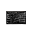Aspinal of London Women's Essential Pouch Large Deep Shine Croc - Black