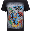 DC Comics Men's Superhero Flying T-Shirt - Black