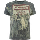 T-Shirt Homme The Walking Dead Warning Sublimation - Noir