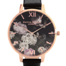 Olivia Burton Women's Signature Floral Watch - Black/Rose Gold