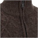 Pull Threadbare pour Homme Furrow Zip Col Haut -Chocolat Chiné
