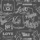 Fresco Life Rules Chalkboard Effect Grey Wallpaper
