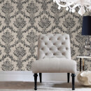 Boutique Opal Damask Charcoal and Gold Wallpaper