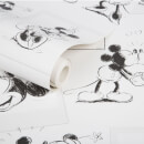 Disney Mickey and Minnie Black/White Sketch Wallpaper