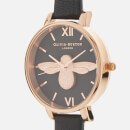 Olivia Burton Women's Black Dial Big Moulded Bee Watch - Rose Gold