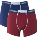 Puma Men's 2 Pack Athletic Blocking Boxers - Red/Blue