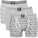 Crosshatch Men's 3 Pack Causeway Boxer Shorts - Grey Marl