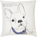 It's A Dogs Life Cushion - White (45 x 45cm)