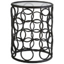 Fifty Five South Antalya Round Side Table - Black Metal/Glass Top