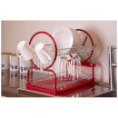 2 Tier Dish Drainer - Chrome/Red
