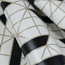 Kelly Hoppen Linear Geometric Metallic Wallpaper - Black/White