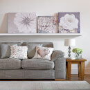 Graham & Brown Grey Silver Metallic Bloom Floral Printed Canvas Wall Art