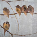 Art For The Home Flock of Birds Handpainted Framed Canvas Wall Art