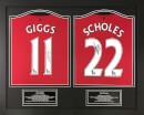 Ryan Giggs and Paul Scholes Signed and Framed Shirts