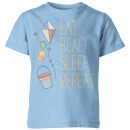 My Little Rascal Eat, Beach, Sleep, Repeat Kids' T-Shirt - Light Blue
