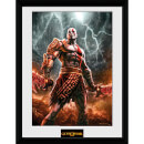 God of War Kratos Lightening - 16 x 12 Inches Framed Photograph