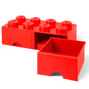 LEGO Storage 8 Knob Brick - 2 Drawers (Bright Red)