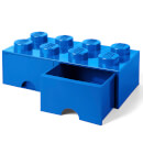LEGO Storage 8 Knob Brick - 2 Drawers (Bright Blue)