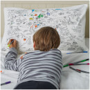 Doodle World Map Pillowcase with 10 Wash Out Pens