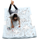 Doodle World Map Single Duvet Cover- with 10 wash out pens