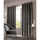 Sienna Eyelet Crushed Velvet Curtains - Charcoal