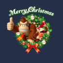 Nintendo® Donkey Kong Diddy Kong Merry Christmas Wreath Thumbs Up T-Shirt - Navy
