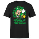 Nintendo Super Mario Luigi Merry Christmas Wreath Black T-Shirt