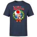 Nintendo Super Mario Toad Wreath Happy Holidays Navy T-Shirt