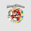 Nintendo Super Mario Mario Merry Christmas Wreath Grey T-Shirt