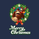 Nintendo Donkey Kong Diddy Kong Merry Christmas Smaller Wreath Navy T-Shirt