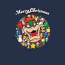Nintendo Super Mario Bowser Merry Christmas Wreath Navy T-Shirt