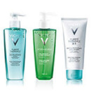 Vichy Pureté Thermale 3-in-1 One Step Cleanser, Pureté Thermale Fresh Cleansing Gel + Normaderm Deep Cleansing Purifying Gel