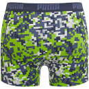 Puma Men's 2 Pack Blocking Print Boxers - Blue/Lime