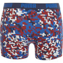 Puma Men's 2 Pack Blocking Print Boxers - Blue/Red