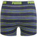Puma Men's 2 Pack Rugby Stripe Boxers - Blue/Lime