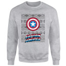 Marvel Comics Captain America Caps Shield Grey Christmas Sweatshirt