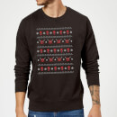 Marvel Deadpool Christmas Faces Black Christmas Sweatshirt